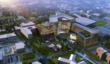 HOK design concept rendering: This bird's-eye view at dusk shows the green space that will link the new University at Buffalo School of Medicine and Biomedical Sciences with the Roswell campus.